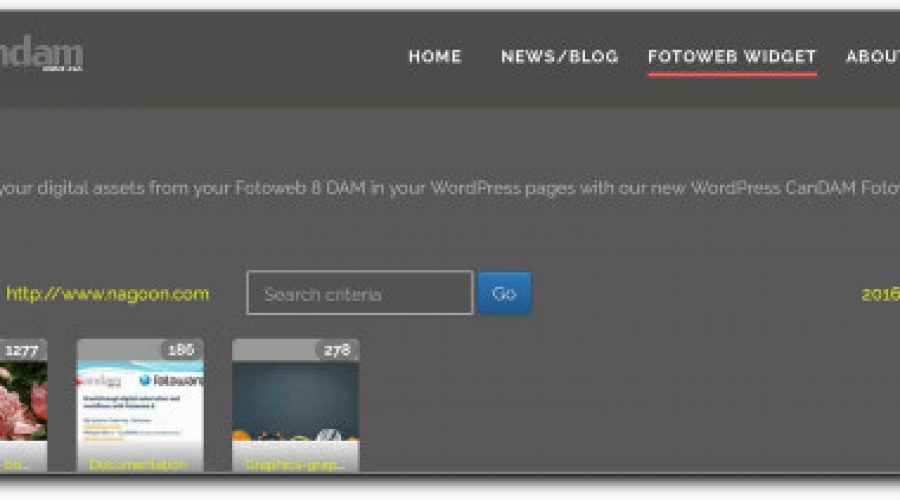 New CanDAM Fotoweb DAM component for WordPress